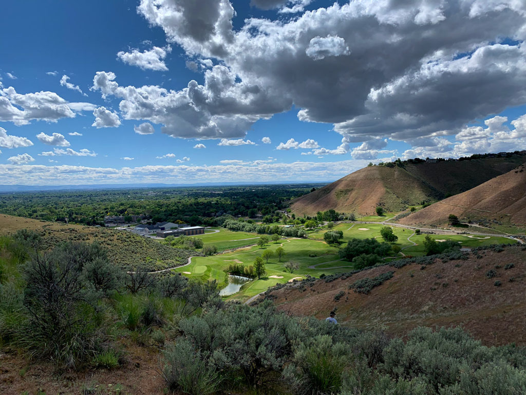 The view from the Full Sail Trail above Qual Ridge Golf Course