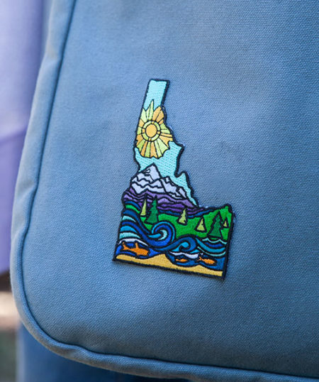 Idaho Mountains Patch on bag by Mary Butler