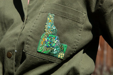 Idaho Succulent Patch on jacket by Mary Butler
